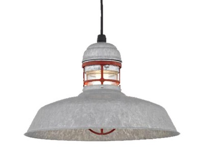 """16"""" Outback Pendant in 96-Galvanized with 97-Red Guard"""