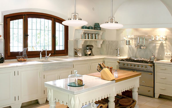 Victorian kitchen lighting for early 20th century islands for Victorian kitchen designs