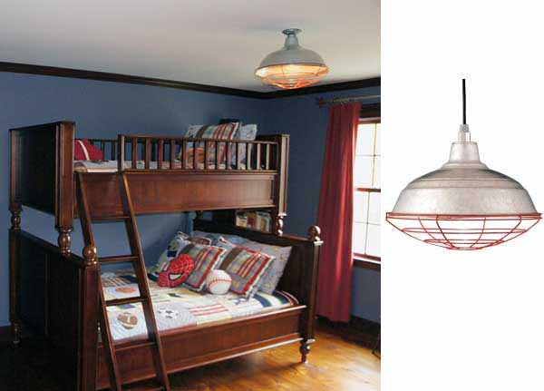 Baseball Themed Bedroom Incorporates Unique Pendant Lighting Click