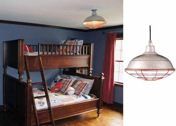Yankees Bedroom Uses Barn Light Warehouse Pendant