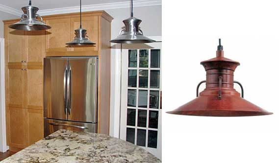 Barn light pendants accent modern stainless appliances blog - Stainless steel kitchen pendant lighting ...