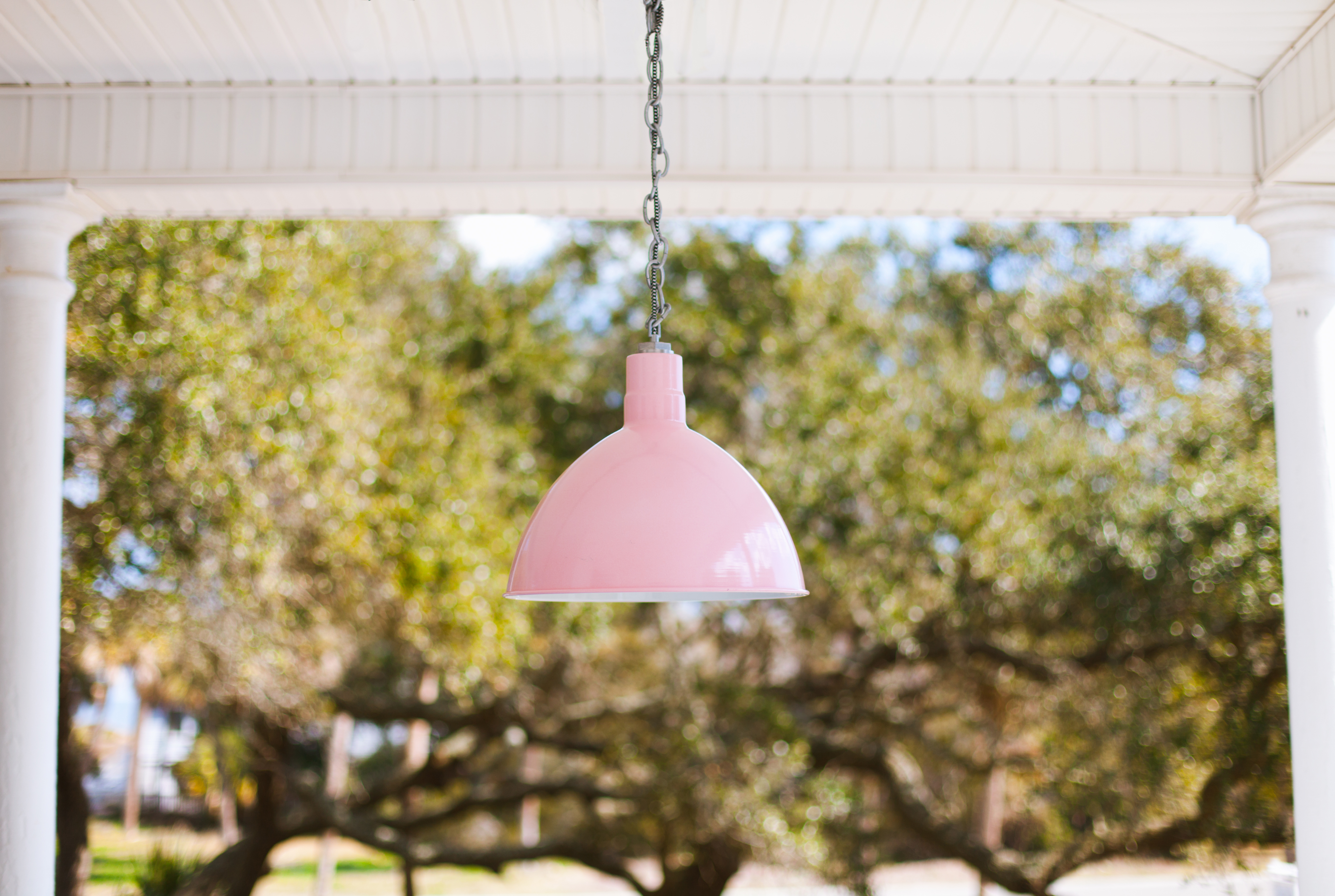 Chain hung Wesco pendant in blush pink!