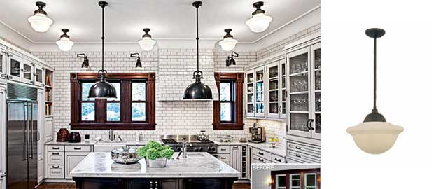 Chicago Kitchen Features Deep Bowl & Schoolhouse Pendants ...