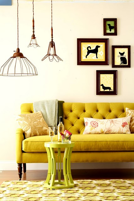 Vintage industrial lighting with eclectic decor blog for Mustard living room ideas