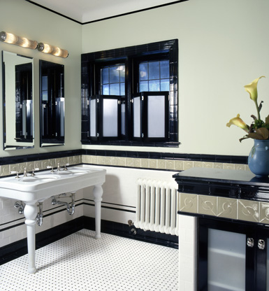 Vintage Wall Sconces Used In Art Deco Bathroom