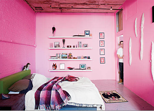 Pink Bedroom Featured on Apartment Therapy