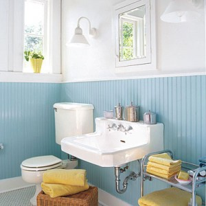 Outdated Bathroom Is Refreshed With Bead Board And Barn