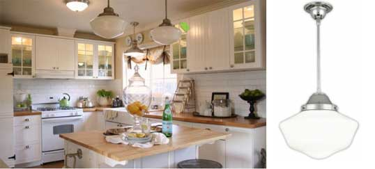 Schoolhouse pendants in old cottage kitchen blog country homes that incorporate old schoolhouse lighting aloadofball Image collections