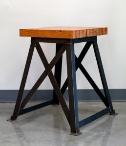The Restoration   Vintage Industrial Wood Side Table