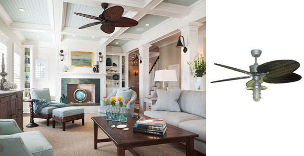 Located In A Nearby Living Room, A Tropical Style Vintage Ceiling Fan ...