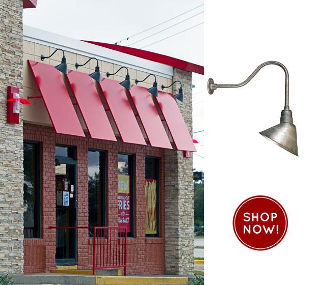 Wendy's Restaurant Remodel Includes Gooseneck Sign Lights