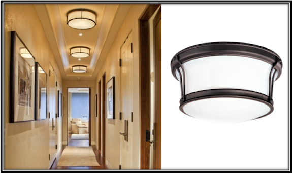 Flush mount lights are ideal for narrow hallways blog flush mount lights create a streamlined look in hall aloadofball Image collections