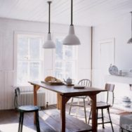 Deep Bowl Porcelain Pendants Make a Barn Light Debut