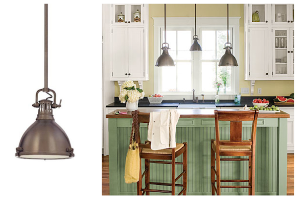 industrial pendant lighting adds to coastal farmhouse