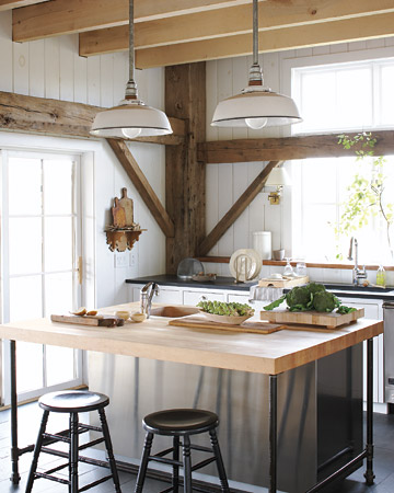 Using Vintage Warehouse Shades Within The Kitchen