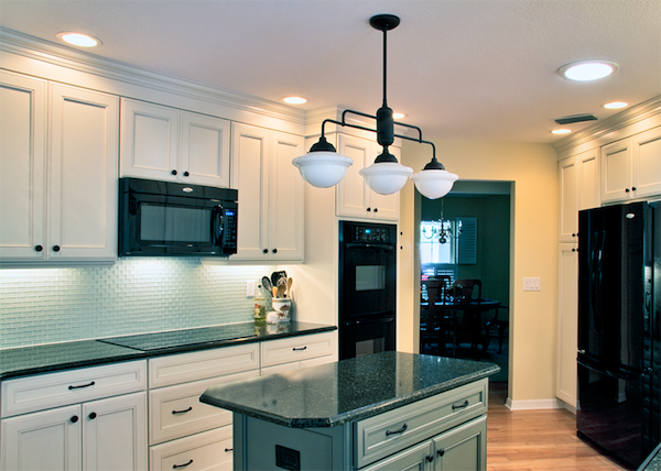 Schoolhouse Lighting Used in Traditional Kitchen Remodel ...