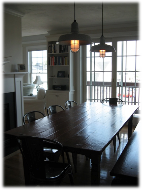 a industrial dining room lighting