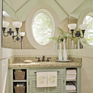 Guest Bathroom | Vintage Brass Hardware and Reproduction Lighting
