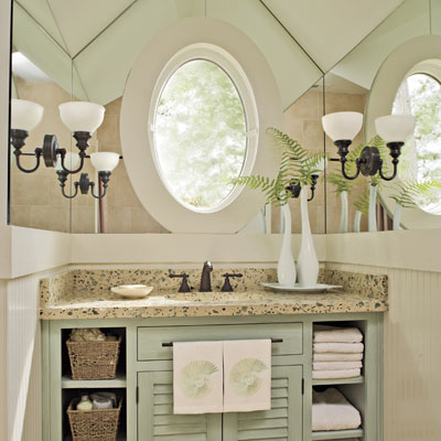 Guest bathroom vintage brass hardware and reproduction lighting if