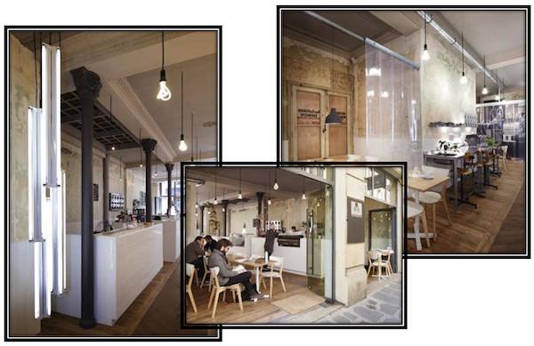 minimalist pendant lamps in a french industrial café blog