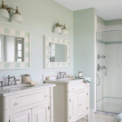 A coastal bathroom that requires simple yet chic lighting for English cottage bathroom ideas