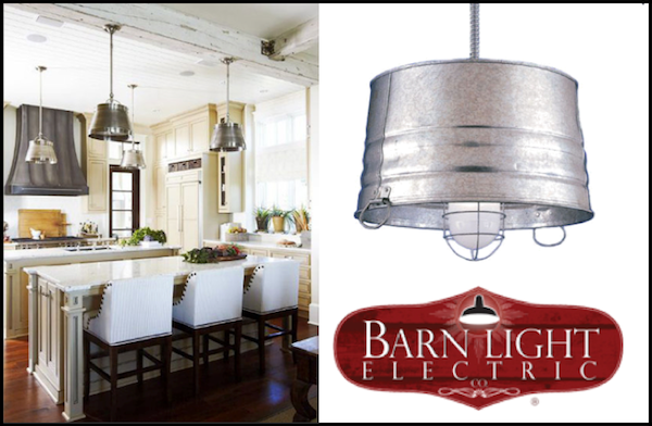 Bucket Pendant Lighting In A Farmhouse Kitchen