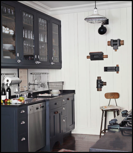 Vintage Barn Lighting In A Small Farmhouse Kitchen