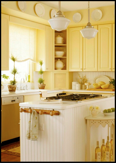Bright yellow kitchen illuminated with schoolhouse for Light yellow kitchen