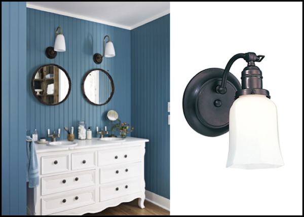 Definition Of Wall Sconces : Vintage Wall Sconces Help to Define Dual Vanities Blog BarnLightElectric.com