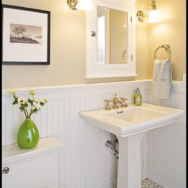 Adjustable Vintage Lamps Add Farmhouse Charm to a Bathroom Vanity