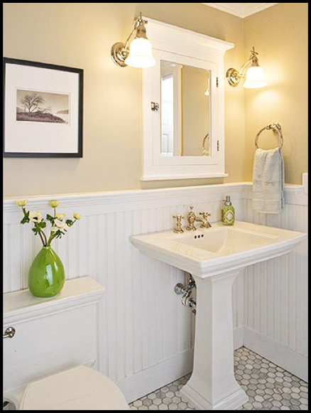 Adjustable vintage lamps add farmhouse charm to a vanity for Bathroom ideas yellow tile