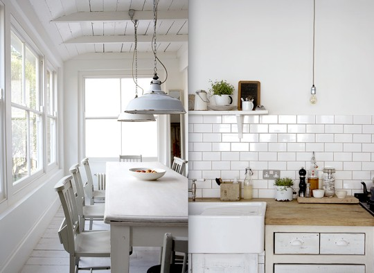vintage white pendants lights in a farmhouse dining room