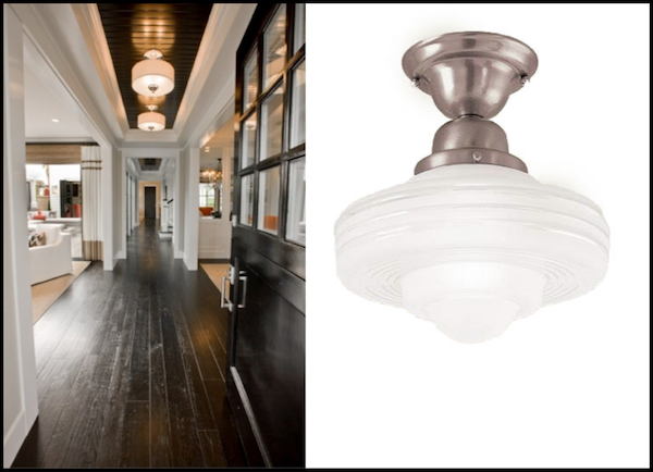 Flush Mount Schoolhouse Lighting In A Farmhouse Entry Hallways