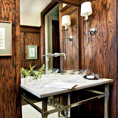 Vintage wall sconce as a vanity light fixture blog for Bathroom ideas with wooden panels