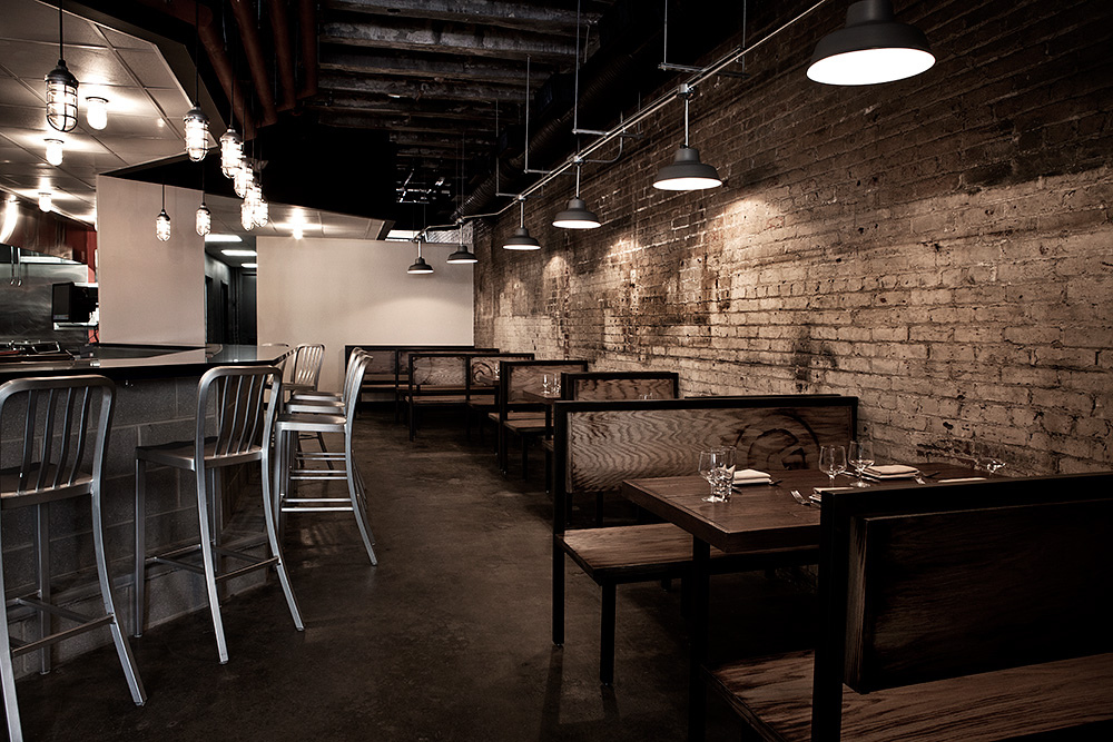 Rustic sconces barn light pendants dress up dc eatery - Commercial lighting fixtures interior ...