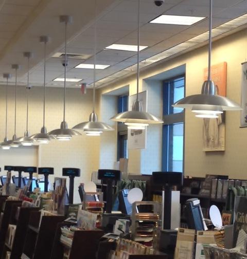 Commercial Retail Light Fixtures: Sleek Modern Pendant Lights Gleam In Modern Bookstore