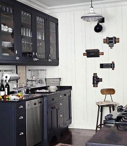Antique Black Kitchen Cabinets: Vintage Industrial Pendant For A Classic Black & White
