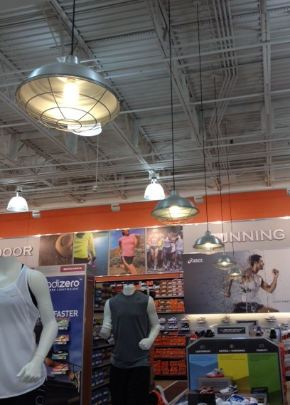 Galvanized Warehouse Shade Ideal in Remodeled Sports Store