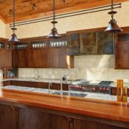 Barn Chandeliers Add Dash of Rustic Flavor to Modern Kitchen