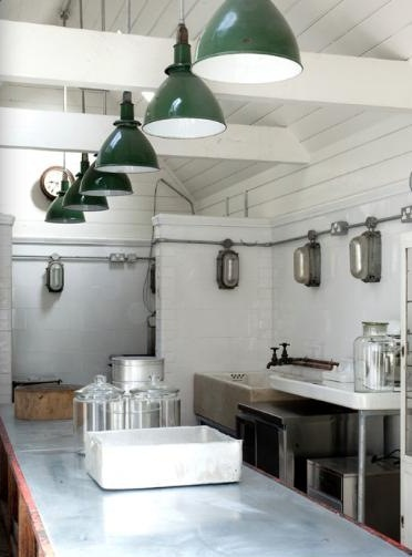 Vintage Deep Bowl Pendants Shine In Industrial Style Kitchen