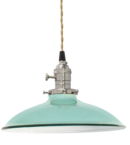 Industrial Porcelain Enamel Pendants Added To French Home