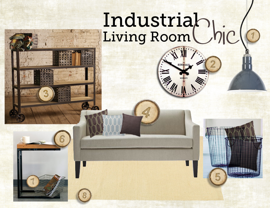 industrial chic living room style board inspiration board blog