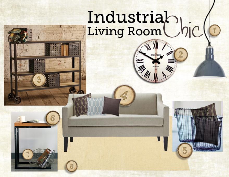 inspiring industrial farmhouse living room | Industrial Chic Living Room Style Board & Inspiration ...