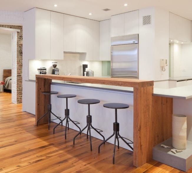 Industrial decor puts balance into bright white modern - Industrial modern kitchen designs ...