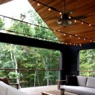 Rustic Ceiling Fan, Light Create Cool, Relaxed Mood on Porch