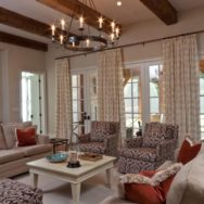 Vintage Chandelier Puts Crowning Touch on Soothing Living Room