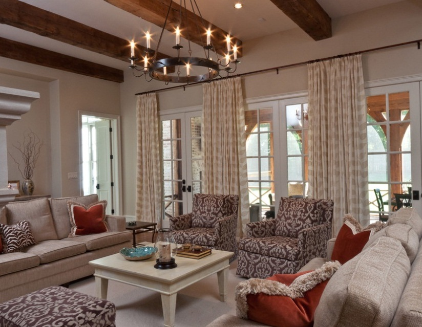 Vintage chandelier puts crowning touch on soothing living for Living room light fixtures
