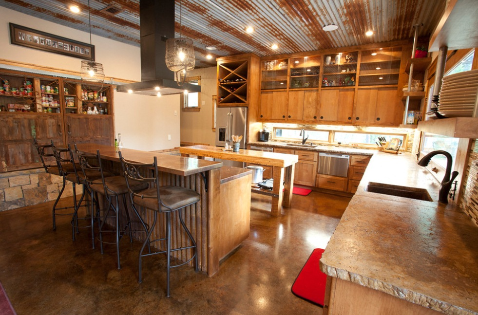 Industrial Basket Pendants Add Rustic Touch To Texas Kitchen