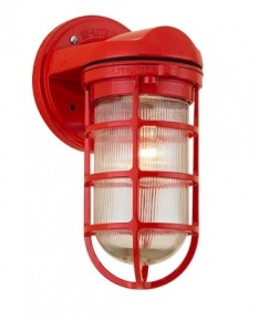 Industrial Static Topless Red Sconce