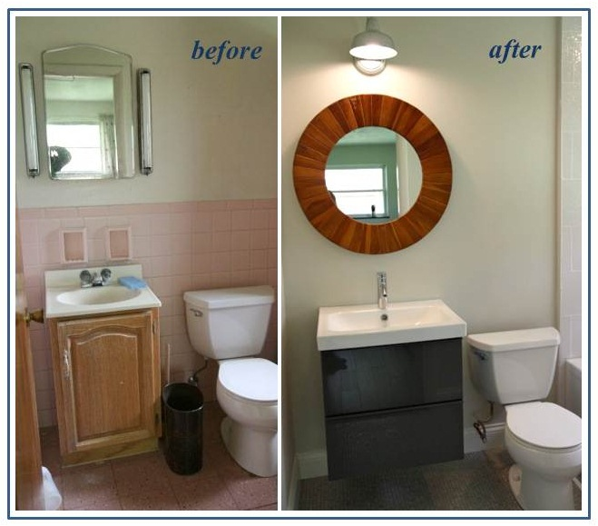 Bathroom Lighting Update barn wall sconce helps update 1950s fixer-upper ranch home | blog